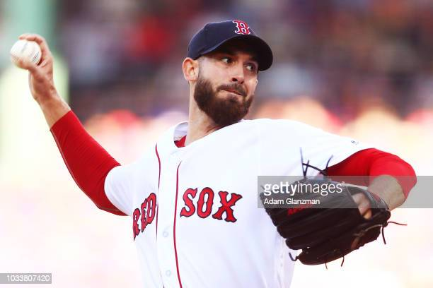 September 15: Rick Porcello of the Boston Red Sox pitches in the second inning of a game against the New York Mets at Fenway Park on September 15,...