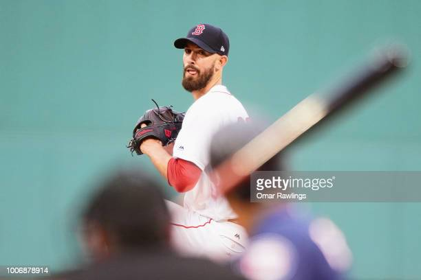 Rick Porcello of the Boston Red Sox pitches in the top of the first inning of the game against the Minnesota Twins at Fenway Park on July 28, 2018 in...