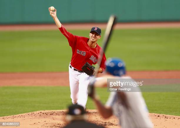 Rick Porcello of the Boston Red Sox pitches in the top of the second inning during the game against the Kansas City Royals at Fenway Park on July 28...