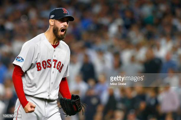 Rick Porcello of the Boston Red Sox reacts after closing out the fifth inning against the New York Yankees in Game Four of the American League...