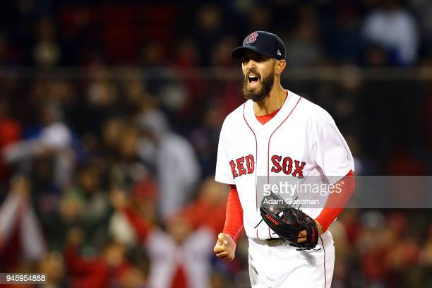 Rick Porcello of the Boston Red Sox reacts after making the third out in the seventh inning of a game against the New York Yankees at Fenway Park on...