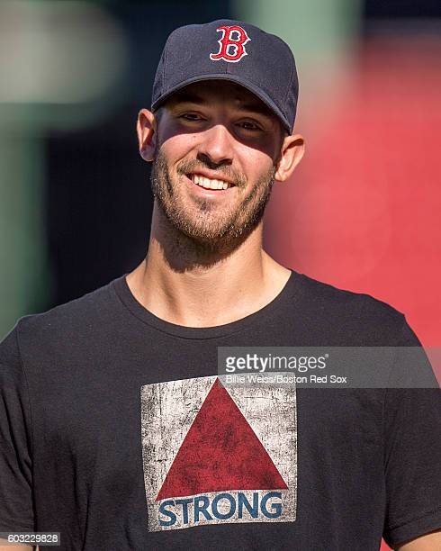 Rick Porcello of the Boston Red Sox reacts before a game against the Baltimore Orioles on September 12, 2016 at Fenway Park in Boston, Massachusetts.