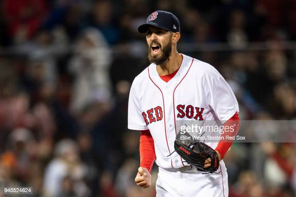 Rick Porcello of the Boston Red Sox reacts during the seventh inning of a game against the New York Yankees on April 12 2018 at Fenway Park in Boston...