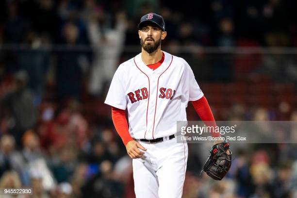 Rick Porcello of the Boston Red Sox reacts during the sixth inning of a game against the New York Yankees on April 12 2018 at Fenway Park in Boston...