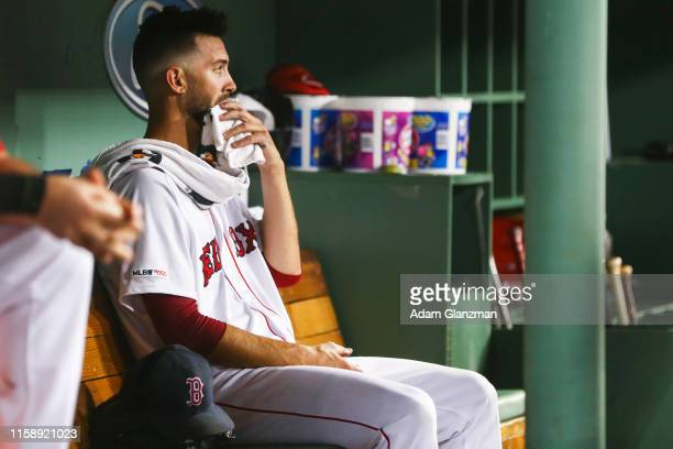 Rick Porcello of the Boston Red Sox reacts in the dugout after being pulled in the sixth inning of a game against the Tampa Bay Rays by manager Alex...