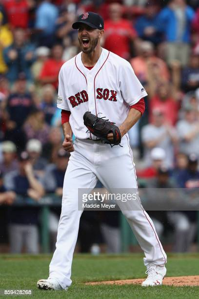 Rick Porcello of the Boston Red Sox reacts in the first inning against the Houston Astros during game four of the American League Division Series at...