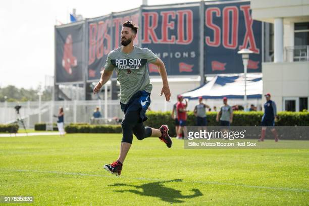 Rick Porcello of the Boston Red Sox runs sprints during a team workout on February 13 2018 at Fenway South in Fort Myers Florida