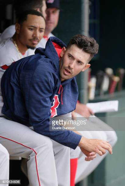 Rick Porcello of the Boston Red Sox sits in the dugout during a game against the Detroit Tigers at Comerica Park on April 9 2017 in Detroit Michigan
