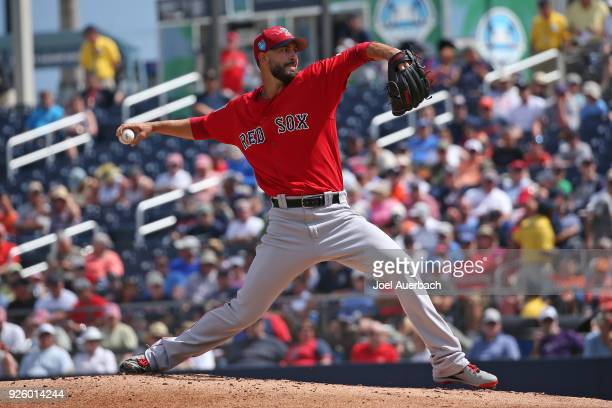 Rick Porcello of the Boston Red Sox throws the ball against the Houston Astros during a spring training game at The Ballpark of the Palm Beaches on...