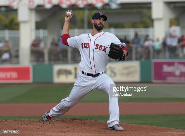 Rick Porcello of the Boston Red Sox throws the ball against the Chicago Cubs during a spring training game at JetBlue Park on March 26 2018 in Fort...