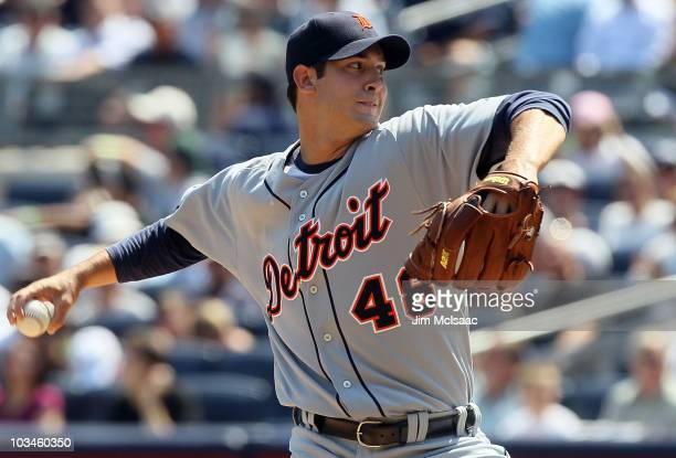 Rick Porcello of the Detroit Tigers delivers a pitch against the New York Yankees on August 19 2010 at Yankee Stadium in the Bronx borough of New...
