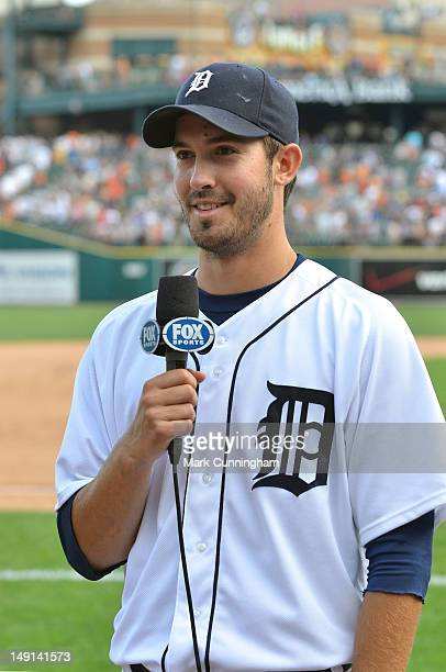 Rick Porcello of the Detroit Tigers gives an interview after the victory against the Chicago White Sox at Comerica Park on July 21 2012 in Detroit...