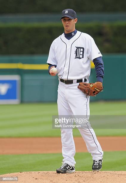 Rick Porcello of the Detroit Tigers pitches against the Cleveland Indians during Opening Day at Comerica Park on April 9 2010 in Detroit Michigan The...