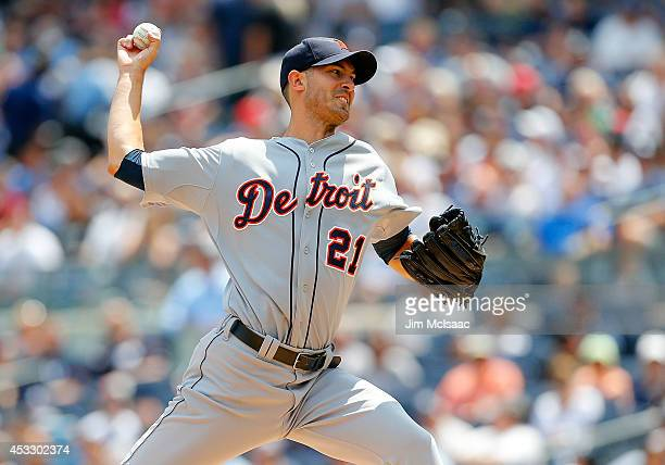 Rick Porcello of the Detroit Tigers pitches in the first inning against the New York Yankees at Yankee Stadium on August 7 2014 in the Bronx borough...