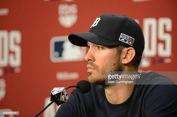 Rick Porcello of the Detroit Tigers speaks to the media during a press conference prior to Game Three of the American League Division Series against...