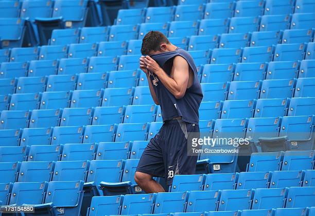 Rick Porcello of the Detroit Tigers warms up doing stairs before MLB game action against the Toronto Blue Jays on July 1 2013 at Rogers Centre in...