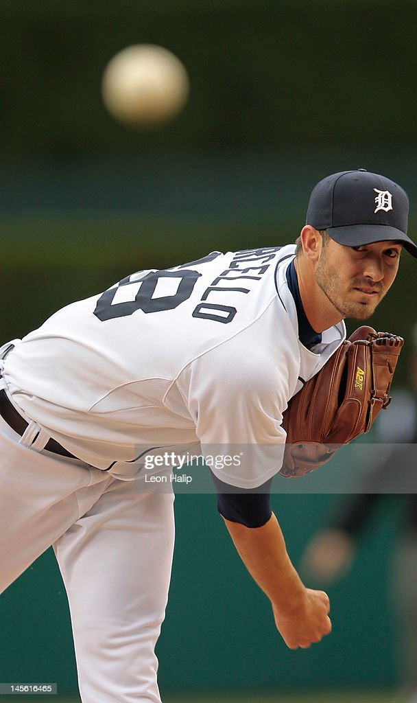 Rick Porcello #48 of the Detroit Tigers warms up prior to the start of the the first inning during the game against the New York Yankees at Comerica Park on June 2, 2012 in Detroit, Michigan.