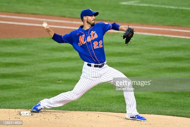 Rick Porcello of the New York Mets delivers a pitch against the Washington Nationals during the first inning at Citi Field on August 11, 2020 in New...