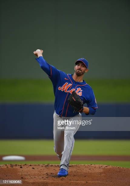 Rick Porcello of the New York Mets delivers a pitch before the first inning during the spring training game against the Houston Astros at FITTEAM...