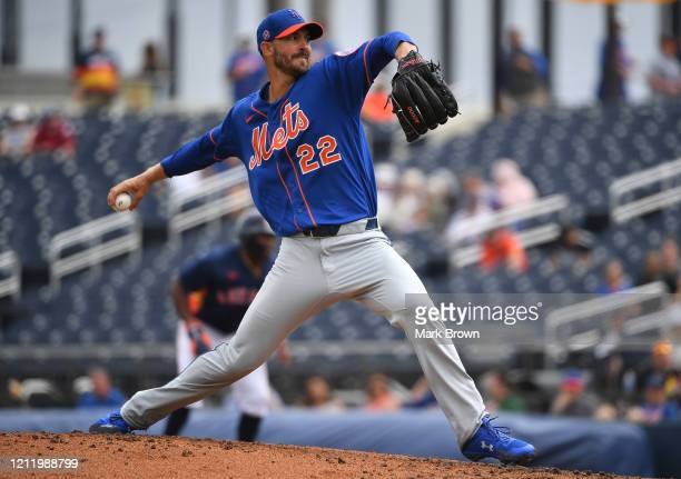 Rick Porcello of the New York Mets delivers a pitch during the spring training game against the Houston Astros at FITTEAM Ballpark of The Palm...