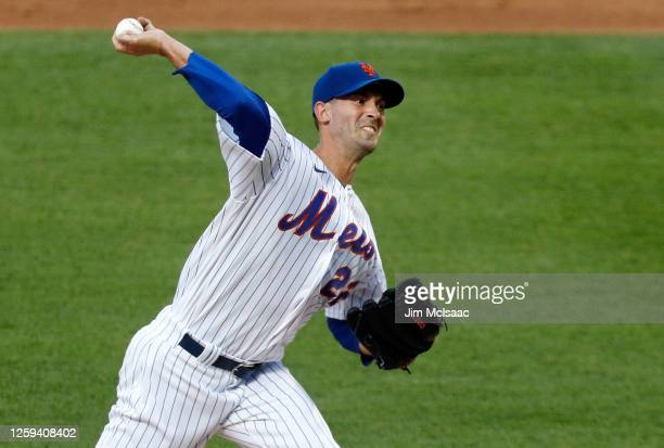 Rick Porcello of the New York Mets delivers a pitch in the second inning against the Atlanta Braves at Citi Field on July 26, 2020 in New York City....