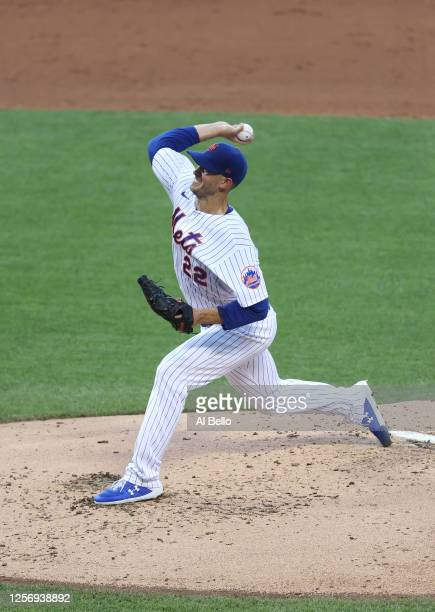 Rick Porcello of the New York Mets pitches against the New York Yankees during their preseason game at Citi Field on July 18, 2020 in New York City.