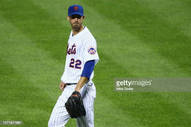 Rick Porcello of the New York Mets reacts in the first inning against the Baltimore Orioles at Citi Field on September 09, 2020 in New York City.
