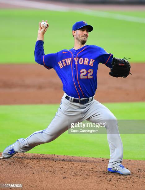 Rick Porcello of the New York Mets throws a first inning pitch against the Atlanta Braves at SunTrust Field on June 31, 2020 in Atlanta, Georgia.