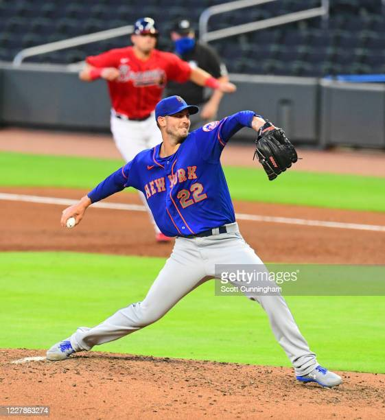Rick Porcello of the New York Mets throws a fourth inning pitch against the Atlanta Braves at SunTrust Field on June 31, 2020 in Atlanta, Georgia.