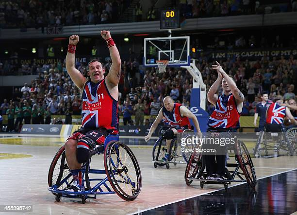 Rick Powell of Great Britain celebrates victory over the USA after the gold medal match of the wheelchair basketball at Olympic Park on September 13...
