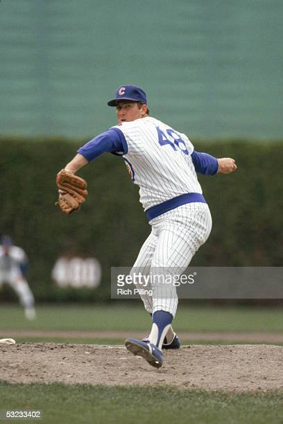 Rick Reuschel of the Chicago Cubs delivers a pitch during a game in May of 1981 at Wrigley Field in Chicago, Illinois.