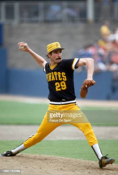 Rick Rhoden of the Pittsburgh Pirates pitches against the New York Mets during a Major League Baseball game circa 1985 at Shea Stadium in the Queens...