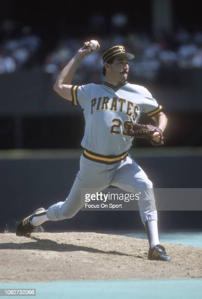Rick Rhoden of the Pittsburgh Pirates pitches against the Philadelphia Phillies during a Major League Baseball game circa 1985 at Veterans Stadium in...