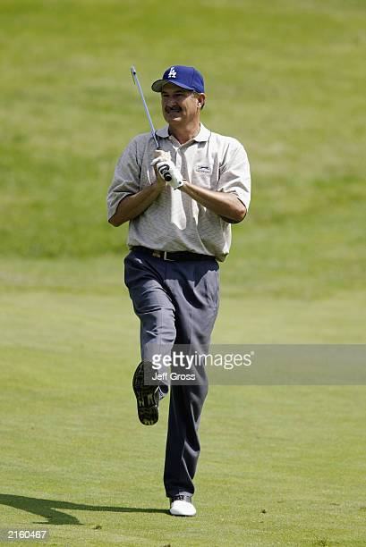 Rick Rhoden watches the putt during the second round of the US Senior Open on June 27 2003 at the Inverness Club in Toledo Ohio