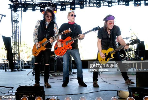 Rick Richards Bruce Smith and Fred McNeal of The Georgia Satellites perform onstage during 2018 Stagecoach California's Country Music Festival at the...
