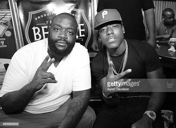 Rick Ross and Ace Hood meet and greet fans at Wing Stop on May 26 2014 in Deerfield Beach Florida