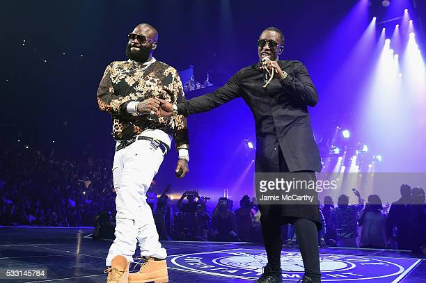 Rick Ross and Sean 'Diddy' Combs aka Puff Daddy perform onstage during the Puff Daddy and The Family Bad Boy Reunion Tour presented by Ciroc Vodka...