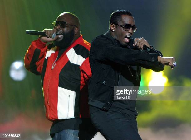 "Rick Ross and Sean ""Diddy"" Combs perform during the BET Hip Hop Awards '10 at Boisfeuillet Jones Atlanta Civic Center on October 2, 2010 in Atlanta,..."