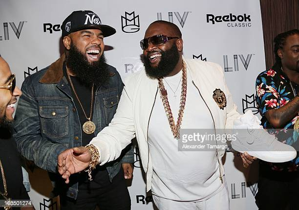 Rick Ross and Stally arrive at the Reebok Classic white party hosted by Rick Ross at LIV nightclub at Fontainebleau Miami on March 10 2013 in Miami...