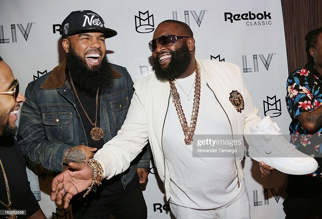 Rick Ross (R) and Stally arrive at the Reebok Classic white party hosted by Rick Ross at LIV nightclub at Fontainebleau Miami on March 10, 2013 in Miami Beach, Florida.