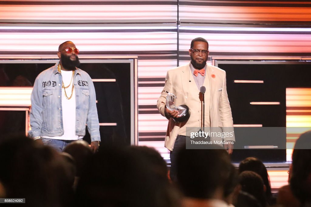 Rick Ross and Uncle Luke on stage at BET Hip Hop Awards 2017 on October 6, 2017 in Miami Beach, Florida.