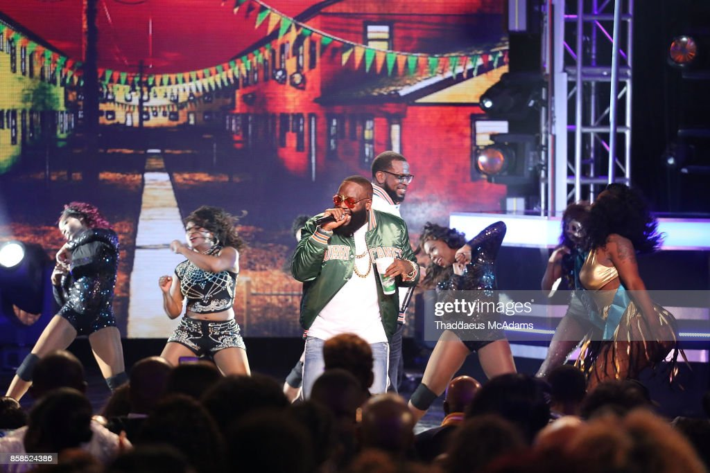 Rick Ross and Uncle Luke perform onstage at BET Hip Hop Awards 2017 on October 6, 2017 in Miami Beach, Florida.