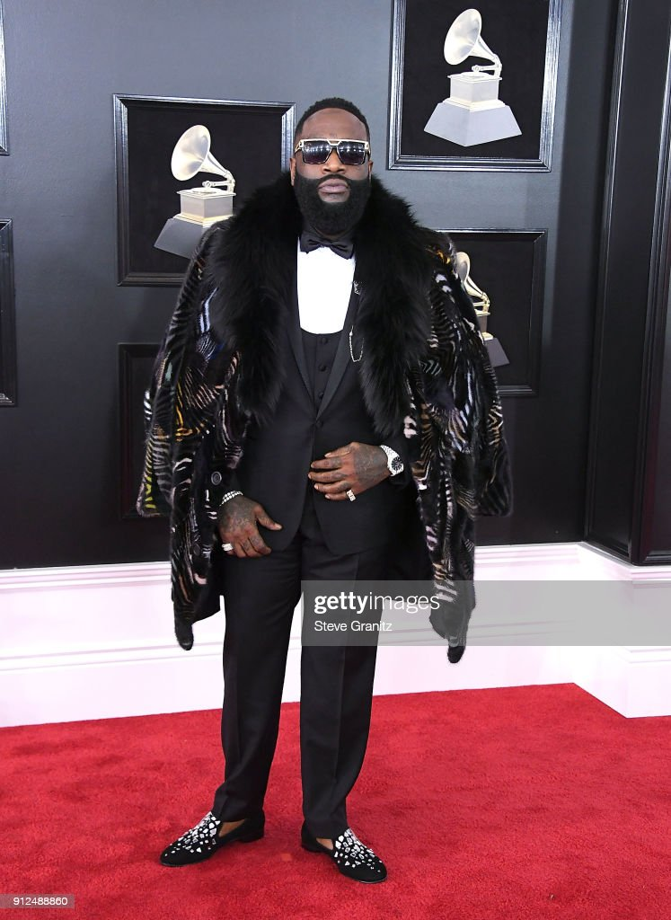Rick Ross arrives at the 60th Annual GRAMMY Awards at Madison Square Garden on January 28, 2018 in New York City.