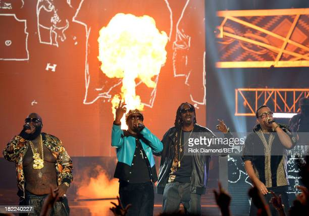 Rick Ross Diddy Uncle Snoop and French Montana perform onstage at the BET Hip Hop Awards 2013 at Boisfeuillet Jones Atlanta Civic Center on September...