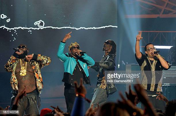 Rick Ross, Diddy, Uncle Snoop and French Montana perform onstage at the BET Hip Hop Awards 2013 at Boisfeuillet Jones Atlanta Civic Center on...