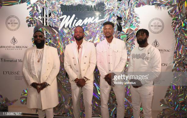Rick Ross Dwyane Wade Jimmy Butler and Reshad Jones attend Dwyane Wade's 16 Year NBA Career Celebration Dinner on April 8 2019 in Miami Florida