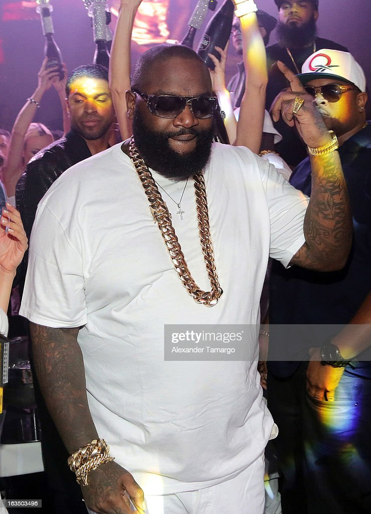 Rick Ross is seen at the Reebok Classic white party hosted by Rick Ross at LIV nightclub at Fontainebleau Miami on March 10, 2013 in Miami Beach, Florida.