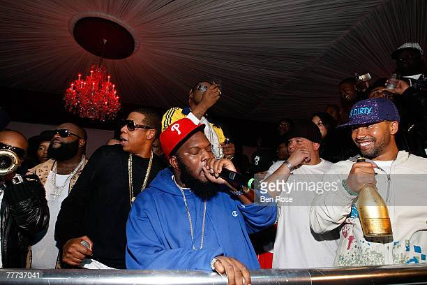 Rick Ross JayZ Freeway and Kenny Burns attend a party hosted by JayZ at the Velvet Room November 4 2007 in Atlanta Georgia