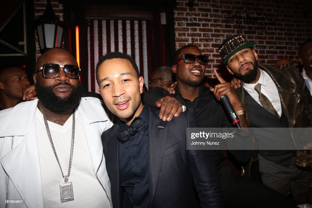 Rick Ross, John Legend, Meek Mill and Swizz Beatz attend House Of Hype Monster Grammy Party at House Of Hype on February 10, 2013 in Los Angeles, California.