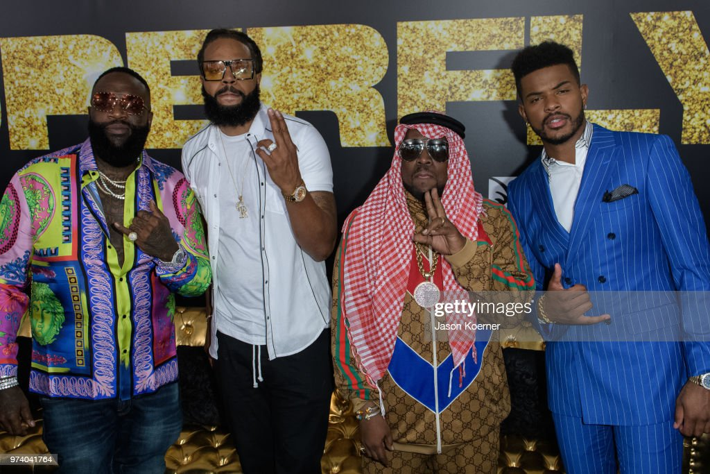 Rick Ross, Kia Shine, Bog Boi and Trevor Jackson attend Opening Night Screening 'Superfly' at the FIllmore Miami Beach during the 22nd Annual American Black Film Festival on June 13, 2018 in Miami Beach, Florida.